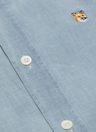 - MAISON KITSUNÉ - Fox head logo embroidered chambray shirt