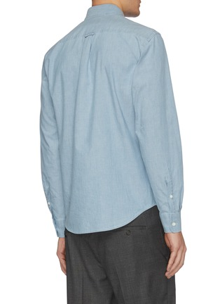 Back View - Click To Enlarge - MAISON KITSUNÉ - Fox head logo embroidered chambray shirt