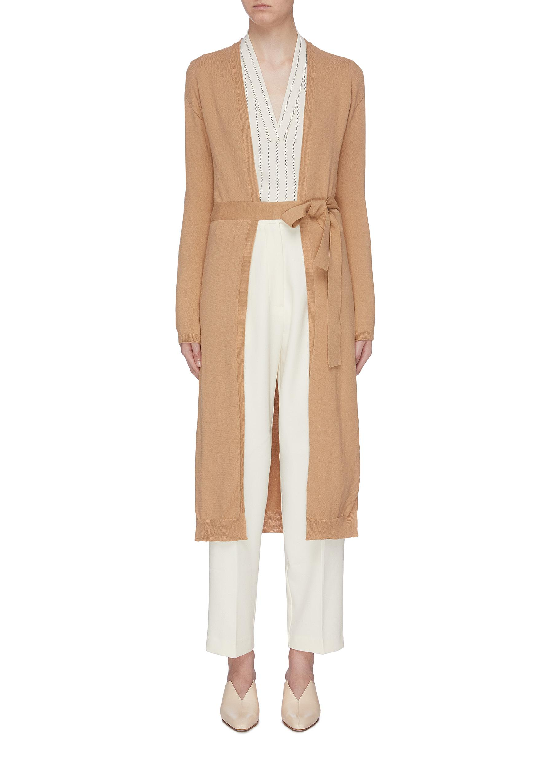 Sash belted long open cardigan by Mijeong Park