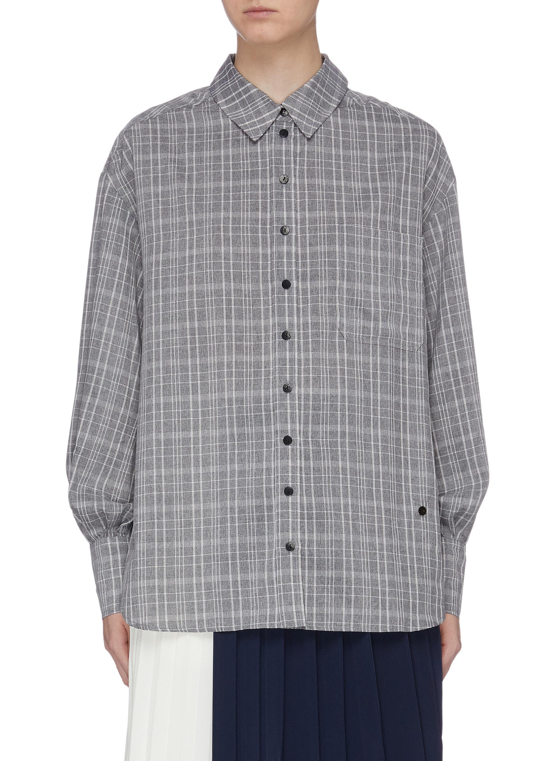 Patch pocket check plaid oversized shirt by Mijeong Park