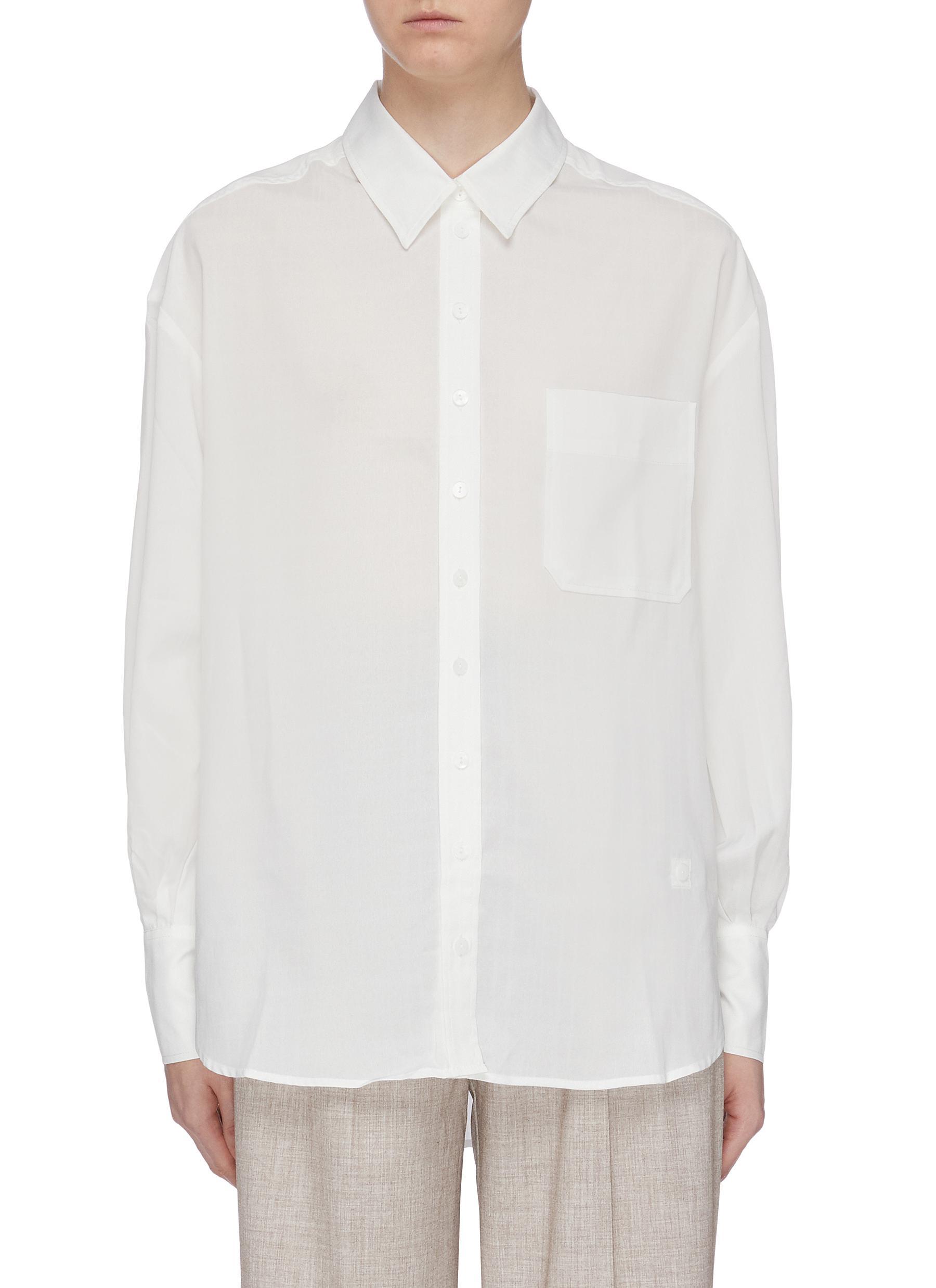 Patch pocket oversized shirt by Mijeong Park