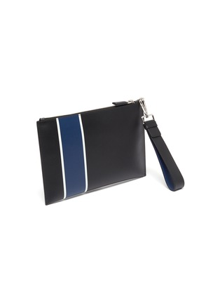 Detail View - Click To Enlarge - PRADA - Stripe leather pouch