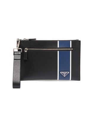 Main View - Click To Enlarge - PRADA - Stripe leather pouch