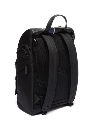 Detail View - Click To Enlarge - PRADA - Stripe nylon and leather backpack