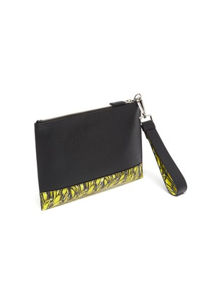 Detail View - Click To Enlarge - PRADA - Banana print trim saffiano leather pouch