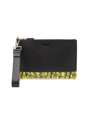 Main View - Click To Enlarge - PRADA - Banana print trim saffiano leather pouch
