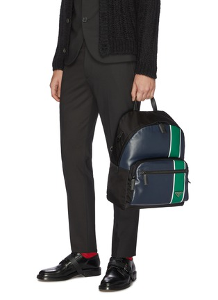 Figure View - Click To Enlarge - PRADA - Stripe leather backpack