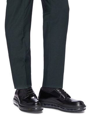 Figure View - Click To Enlarge - PRADA - 'Bounce' air midsole leather Derbies