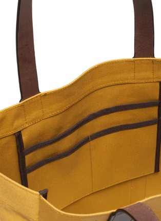 Detail View - Click To Enlarge - TRUNK - 'Open' leather trim canvas tote