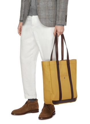 Figure View - Click To Enlarge - TRUNK - 'Open' leather trim canvas tote