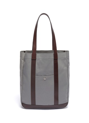 Main View - Click To Enlarge - TRUNK - 'Open' leather trim canvas tote
