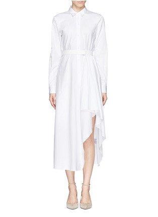 Main View - Click To Enlarge - THEORY - 'Diaz' cotton poplin asymmetric shirt dress