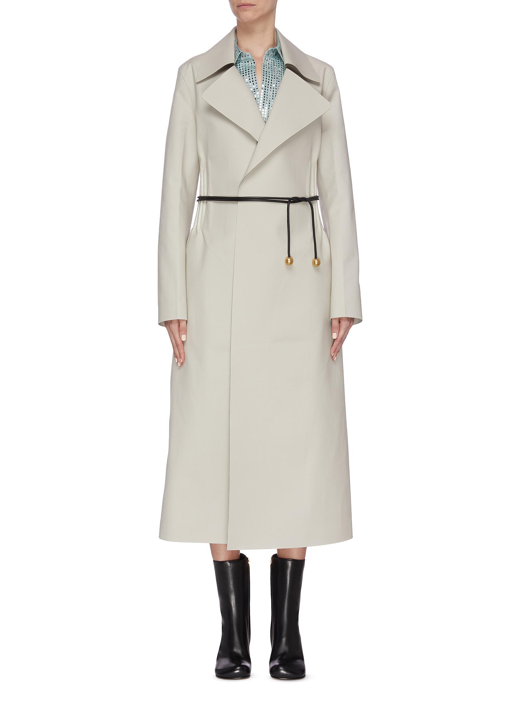 shop Bottega Veneta Belted gathered mackintosh coat online