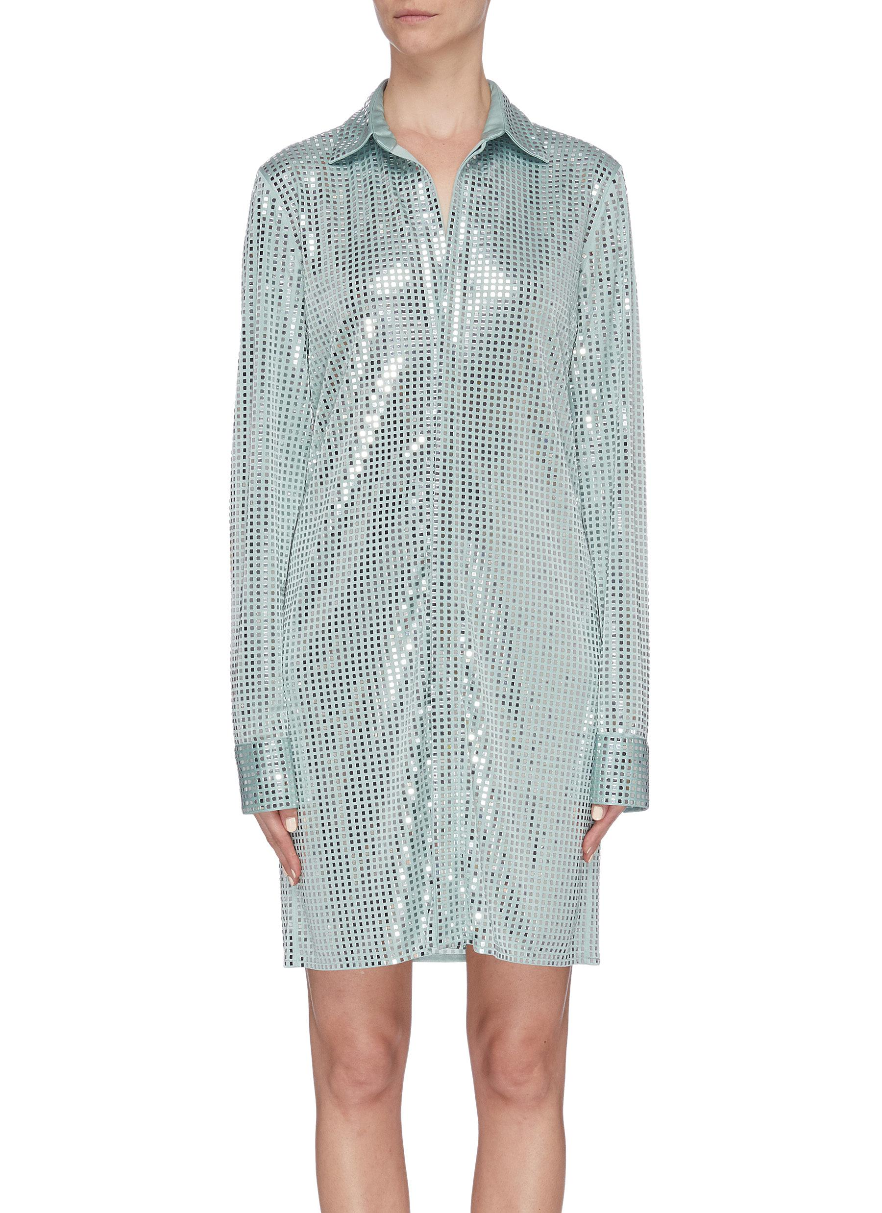 shop Bottega Veneta Mirror embellished long shirt online