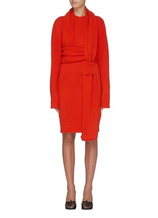 Main View - Click To Enlarge - BOTTEGA VENETA - 'Intercciato' interlock sash knit dress