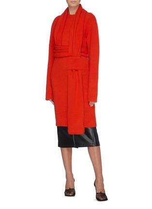 Figure View - Click To Enlarge - BOTTEGA VENETA - 'Intercciato' interlock sash knit dress