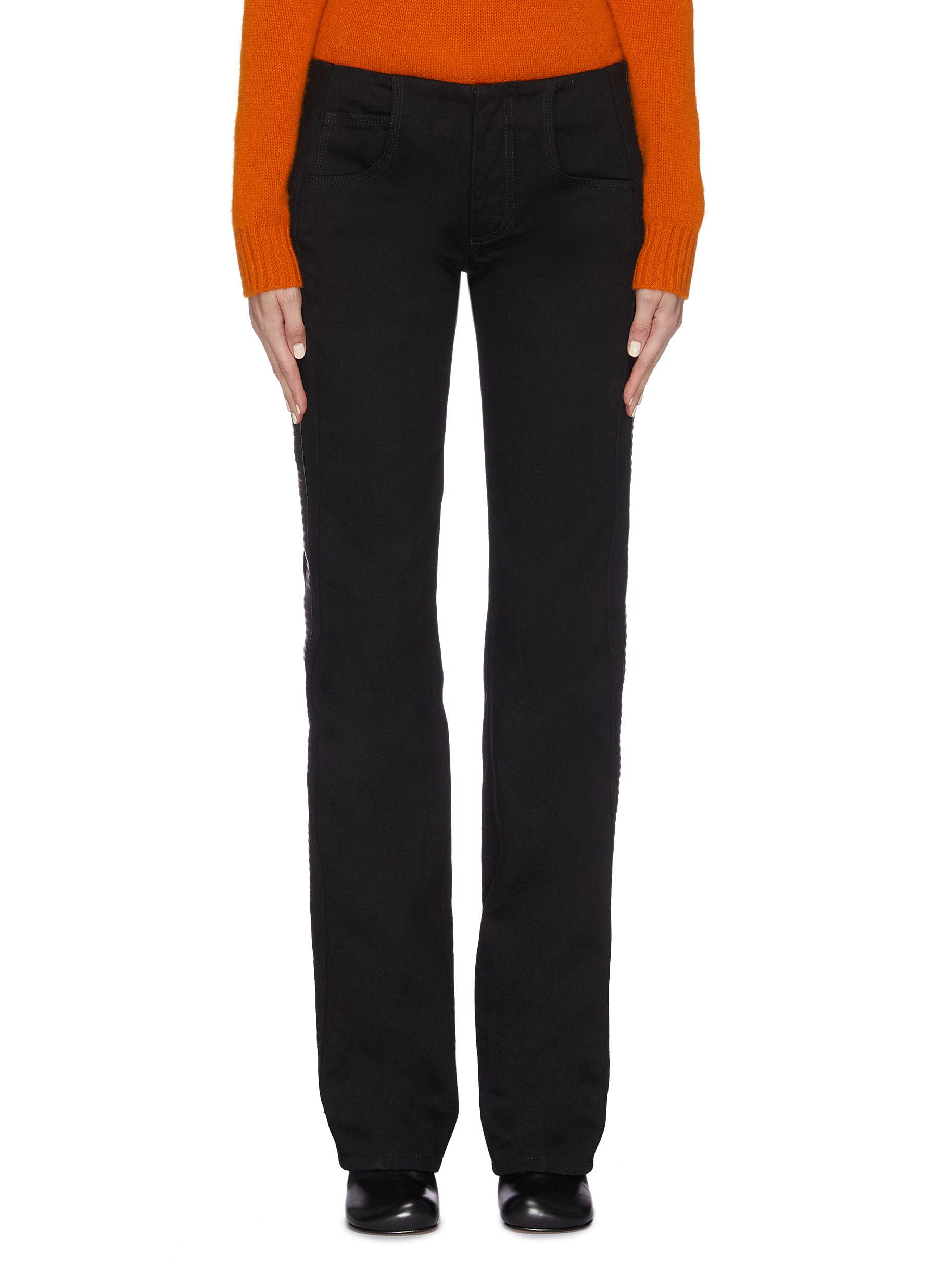 shop Bottega Veneta Leather panelled outseam straight leg pants online