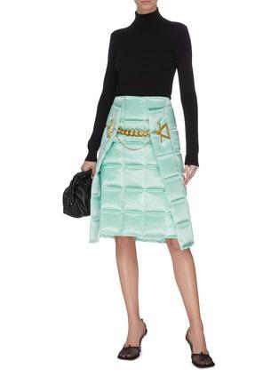Figure View - Click To Enlarge - BOTTEGA VENETA - 'Intercciato' puffed chain detail skirt