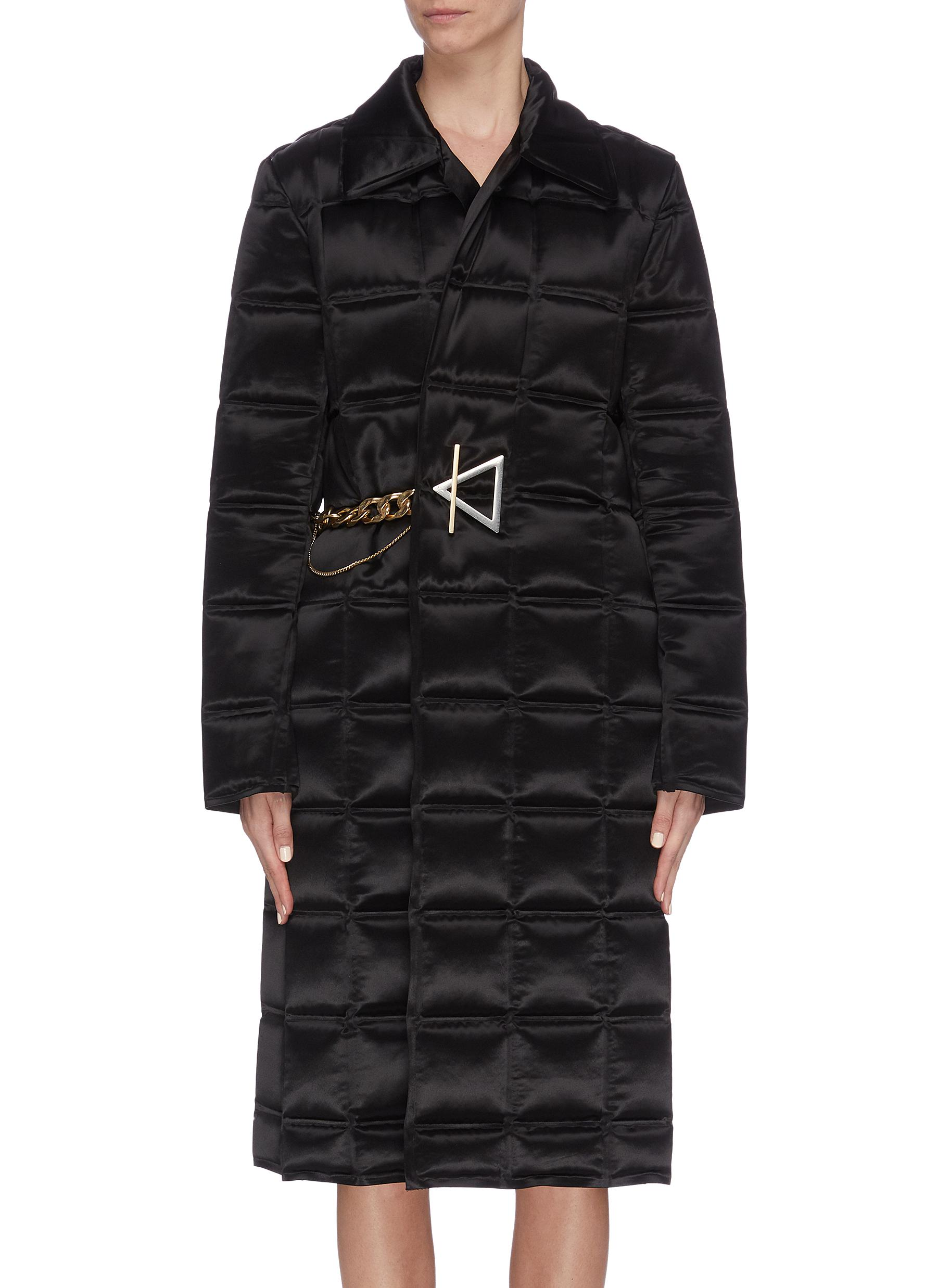 shop Bottega Veneta Shawl collar chain buckle wrap quilted padded coat online