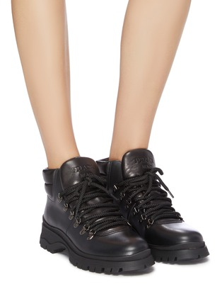 Figure View - Click To Enlarge - PRADA - Leather ankle boots