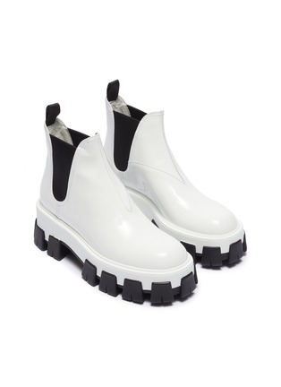 Detail View - Click To Enlarge - PRADA - Chunky outsole patent leather Chelsea boots