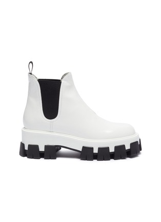 Main View - Click To Enlarge - PRADA - Chunky outsole patent leather Chelsea boots