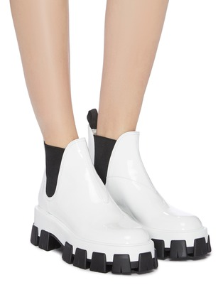 Figure View - Click To Enlarge - PRADA - Chunky outsole patent leather Chelsea boots