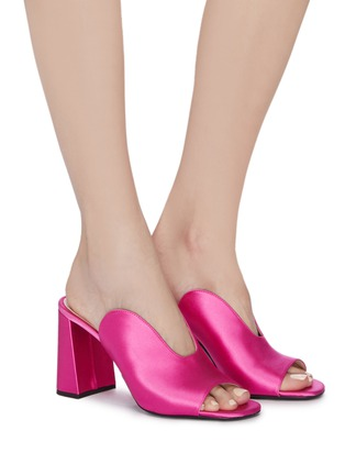 Figure View - Click To Enlarge - PRADA - Curved vamp satin sandals