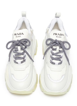 Panelled leather chunky sneakers