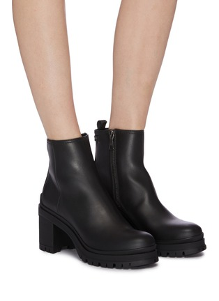 Figure View - Click To Enlarge - PRADA - Leather platform ankle boots