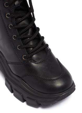 Detail View - Click To Enlarge - PRADA - Chunky outsole leather combat boots