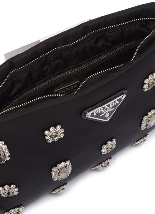 Detail View - Click To Enlarge - PRADA - Glass crystal nylon crossbody clutch