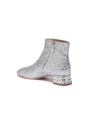 - MIU MIU - Strass heel coarse glitter ankle boots