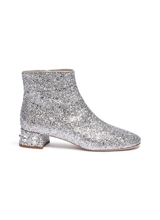 Main View - Click To Enlarge - MIU MIU - Strass heel coarse glitter ankle boots