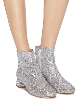 Figure View - Click To Enlarge - MIU MIU - Strass heel coarse glitter ankle boots