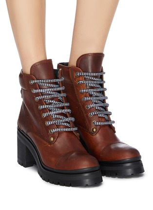 Figure View - Click To Enlarge - MIU MIU - Chunky outsole leather ankle boots