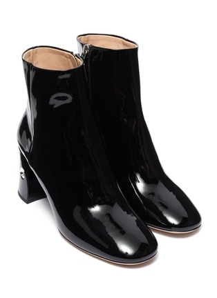 Detail View - Click To Enlarge - MIU MIU - Glass crystal heel patent leather ankle boots