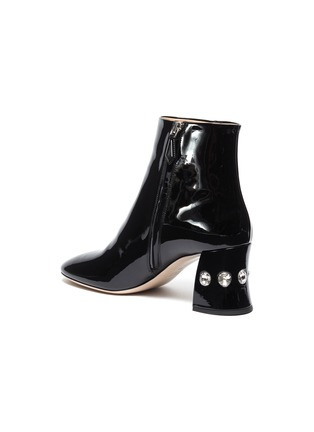 - MIU MIU - Glass crystal heel patent leather ankle boots