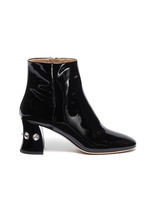 Main View - Click To Enlarge - MIU MIU - Glass crystal heel patent leather ankle boots