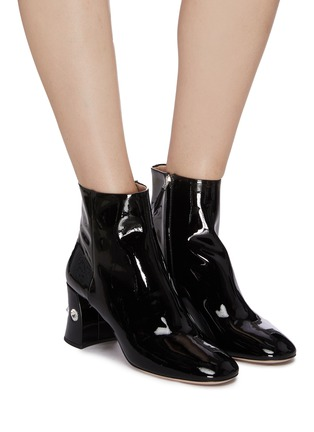 Figure View - Click To Enlarge - MIU MIU - Glass crystal heel patent leather ankle boots
