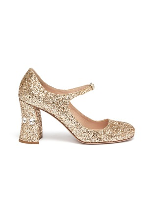 Main View - Click To Enlarge - MIU MIU - Strass heel coarse glitter Mary Jane pumps