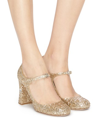 Figure View - Click To Enlarge - MIU MIU - Strass heel coarse glitter Mary Jane pumps