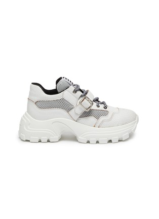 Main View - Click To Enlarge - MIU MIU - Chunky outsole buckled patchwork sneakers
