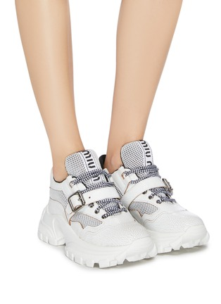Figure View - Click To Enlarge - MIU MIU - Chunky outsole buckled patchwork sneakers