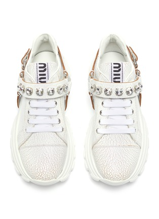 Detail View - Click To Enlarge - MIU MIU - Glass crystal strap crackle leather chunky sneakers
