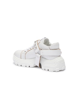 - MIU MIU - Glass crystal strap crackle leather chunky sneakers