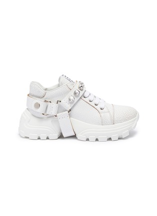 Main View - Click To Enlarge - MIU MIU - Glass crystal strap crackle leather chunky sneakers