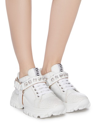 Figure View - Click To Enlarge - MIU MIU - Glass crystal strap crackle leather chunky sneakers