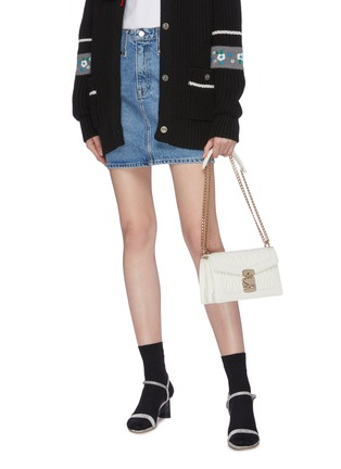 Front View - Click To Enlarge - MIU MIU - Matelassé leather crossbody bag
