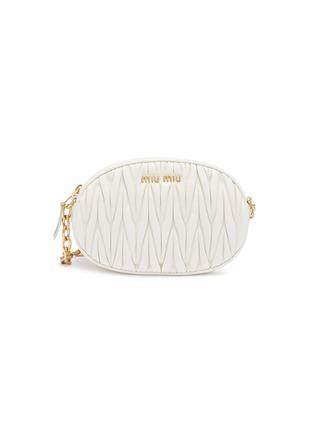 Main View - Click To Enlarge - MIU MIU - Mini matelassé leather oval crossbody bag
